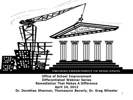 Office of School Improvement Differentiated Webinar Series Remediation That Makes A Difference April 24, 2012 Dr. Dorothea Shannon, Thomasyne Beverly,