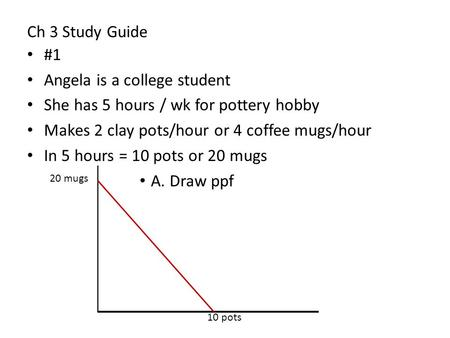 Ch 3 Study Guide #1 Angela is a college student She has 5 hours / wk for pottery hobby Makes 2 clay pots/hour or 4 coffee mugs/hour In 5 hours = 10 pots.