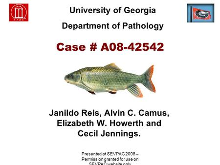 Case # A08-42542 Janildo Reis, Alvin C. Camus, Elizabeth W. Howerth and Cecil Jennings. University of Georgia Department of Pathology Presented at SEVPAC.