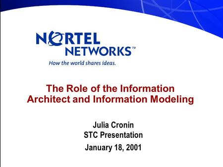 The Role of the Information Architect and Information Modeling Julia Cronin STC Presentation January 18, 2001.