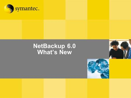 NetBackup 6.0 What's New. What's New in NetBackup 6.0 Management and Reporting Core Product Enhancements Disk Management and Optimization Additional NetApp.