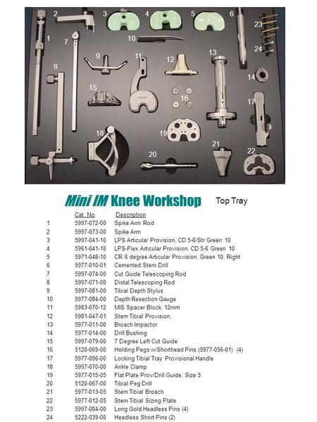 Mini IM Knee Workshop Cat. No. Description 1 5997-072-00 Spike Arm Rod 25997-073-00 Spike Arm 35997-041-10 LPS Articular Provision, CD 5-6/Str Green 10.