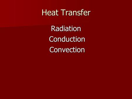 Heat Transfer Radiation Conduction Conduction Convection Convection.