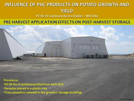 INFLUENCE OF PHC PRODUCTS ON POTATO GROWTH AND YIELD PT-06-11 Summary Across Studies - WA Only PRE-HARVEST APPLICATION EFFECTS ON POST-HARVEST STORAGE.