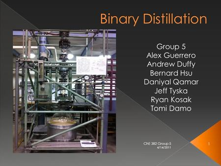 4/14/2011 1 ChE 382 Group 5.  Binary distillation involves only 2 components  It works by using the differences in boiling points for separation › Methanol.
