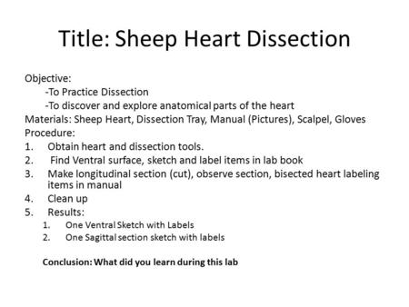 Title: Sheep Heart Dissection Objective: -To Practice Dissection -To discover and explore anatomical parts of the heart Materials: Sheep Heart, Dissection.