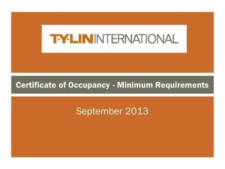 Certificate of Occupancy - Minimum Requirements