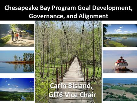 Chesapeake Bay Program Goal Development, Governance, and Alignment Carin Bisland, GIT6 Vice Chair.