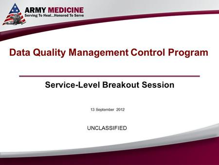 13 September 2012 Data Quality Management Control Program Service-Level Breakout Session UNCLASSIFIED.
