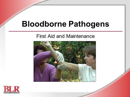 Bloodborne Pathogens First Aid and Maintenance. © Business & Legal Reports, Inc. 0507 Session Objectives You will be able to: Identify bloodborne pathogens.
