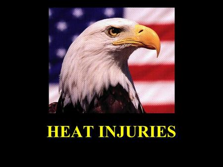 HEAT INJURIES. Types of Heat Injury l Heat Cramps l Heat Exhaustion l Heat Stroke.
