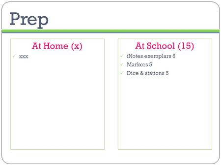 Prep At School (15)  iNotes exemplars 5  Markers 5  Dice & stations 5 At Home (x)  xxx.