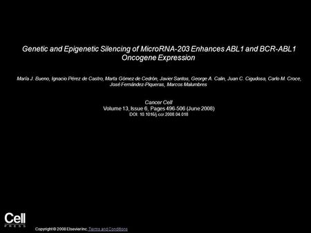 Genetic and Epigenetic Silencing of MicroRNA-203 Enhances ABL1 and BCR-ABL1 Oncogene Expression María J. Bueno, Ignacio Pérez de Castro, Marta Gómez de.