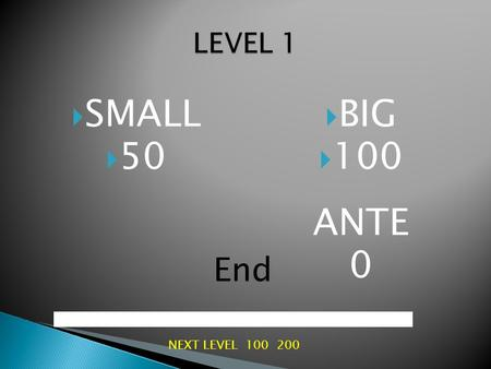 SMALL  50  BIG  100 ANTE 0 End NEXT LEVEL 100 200.