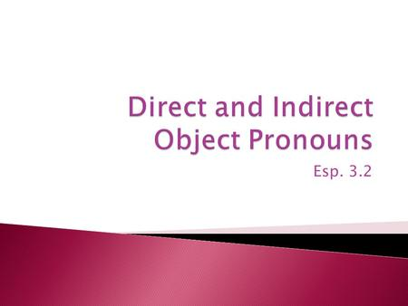 Esp. 3.2.  Object pronouns replace nouns and receive the action of a verb.
