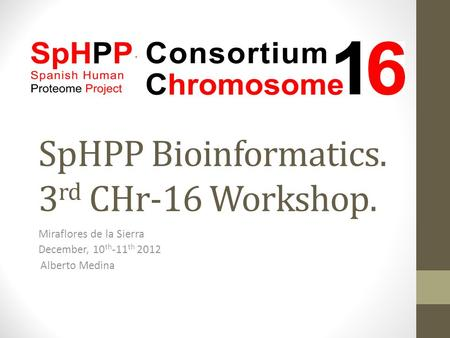 SpHPP Bioinformatics. 3 rd CHr-16 Workshop. Miraflores de la Sierra December, 10 th -11 th 2012 Alberto Medina.