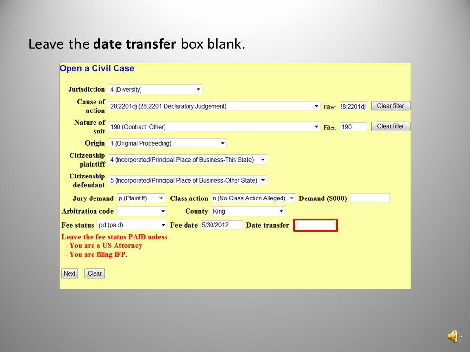 Leave the date transfer box blank.