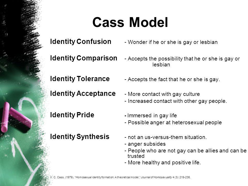 DAugelli Human Development Model Exiting Heterosexual identity Developing a personal lesbian- gay-bisexual identity status Developing a lesbian-gay-bisexual social identity Recognition that a persons sexual orientation is not heterosexual.