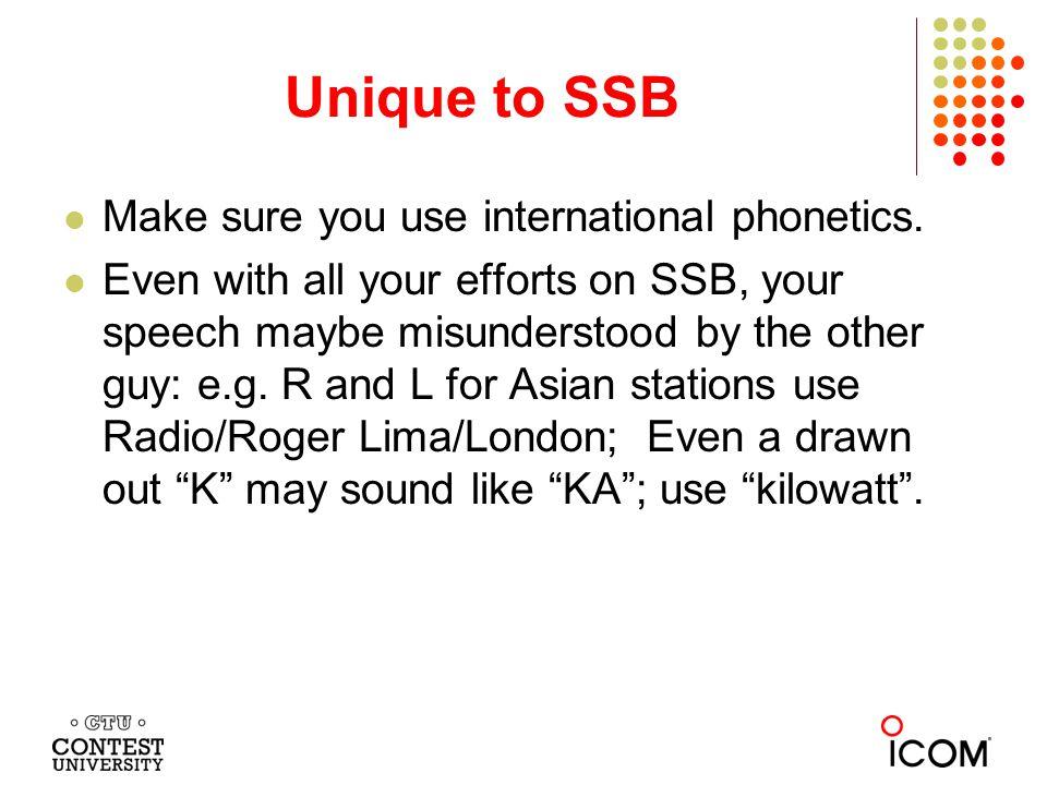 Unique to SSB Make sure you use international phonetics.