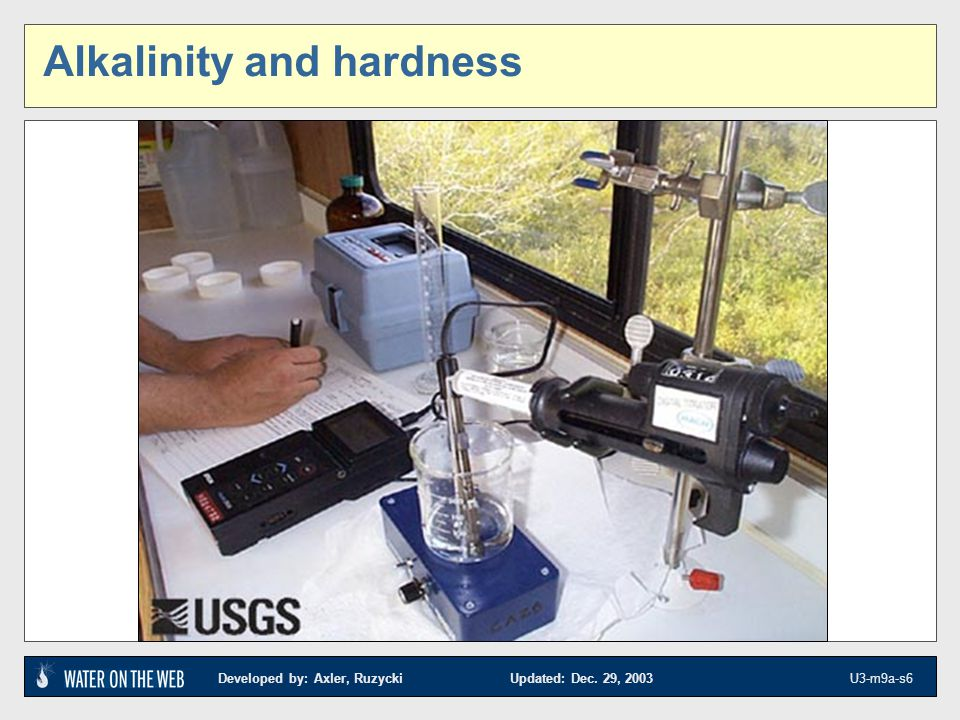 Developed by: Axler, Ruzycki Updated: Dec.29, 2003 U3-m9a-s7 Alkalinity and hardness - what is it.