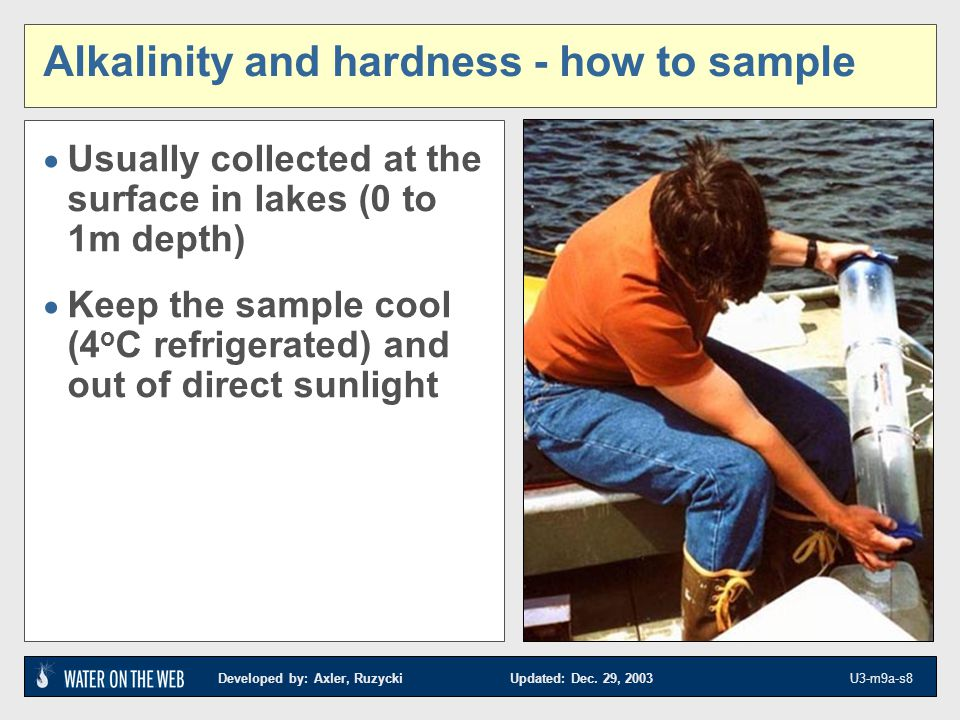 Developed by: Axler, Ruzycki Updated: Dec.29, 2003 U3-m9a-s9 Alkalinity and hardness- why measure.