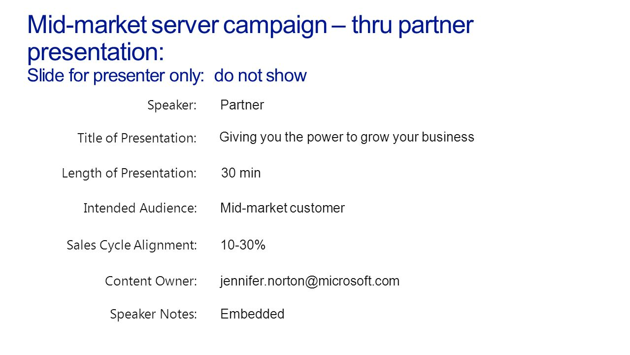 Mid-market server campaign – thru partner presentation: Slide for presenter only: do not show Modular Outline: Notes on Presenting: Notes on Printing: Your business today Windows Server 2012 Getting started The following presentation is provided to use while communicating with customers why they should consider upgrading and/or virtualization Please customize the presentation to tailor your needs by shortening, or adding your own demos, case studies or materials to help you tell the story to your audience.