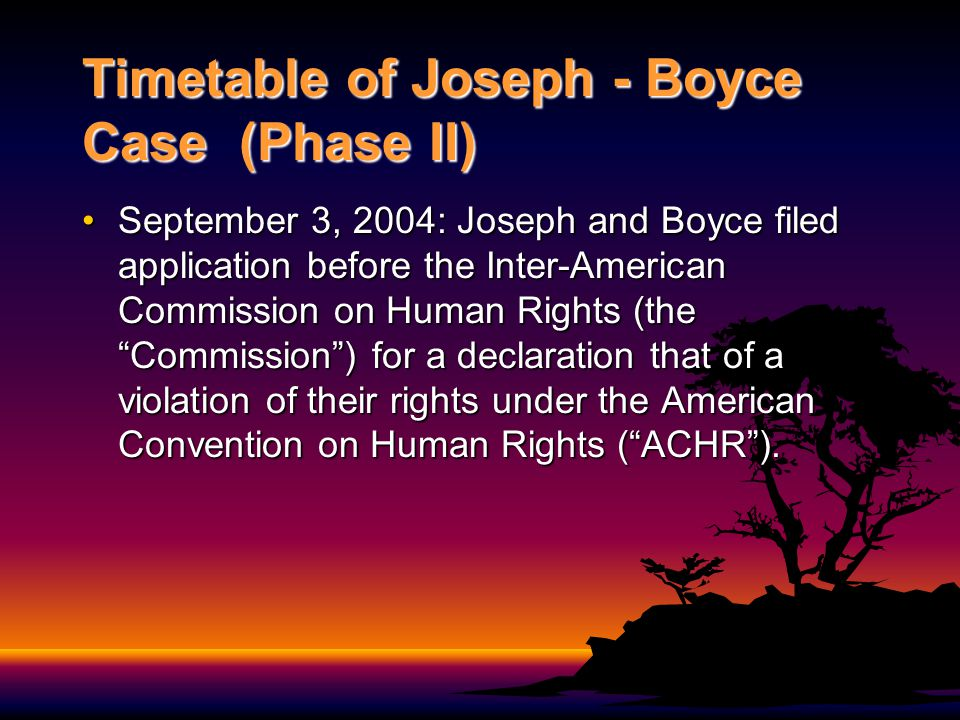 Timetable of Joseph - Boyce Case (Phase II contd) September 13, 2004: BPC meet to consider ramifications of JCPC decision and advised the Governor-General that the death sentences should be carried out.September 13, 2004: BPC meet to consider ramifications of JCPC decision and advised the Governor-General that the death sentences should be carried out.