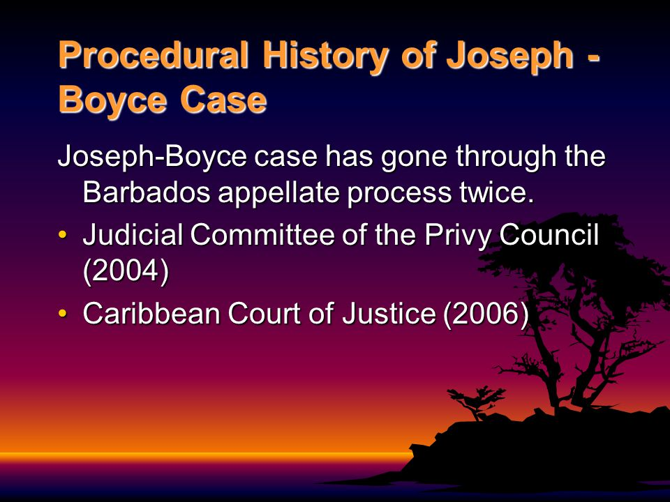Timetable of Joseph - Boyce Case (Phase I) April 10, 1999: Marquelle Hippolyte murdered by Jeffrey Joseph and Lennox Ricardo Boyce and two others.April 10, 1999: Marquelle Hippolyte murdered by Jeffrey Joseph and Lennox Ricardo Boyce and two others.