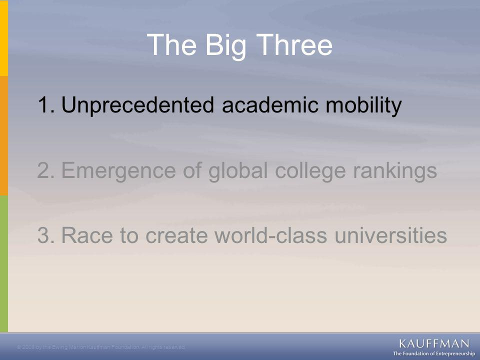 © 2008 by the Ewing Marion Kauffman Foundation. All rights reserved. Global Student Mobility