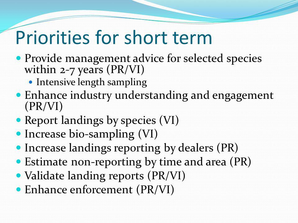 Priorities for long term Life history sampling Aging, maturation, fecundity Trophic studies Statistical model application Periodic evaluation of program design Ongoing monitoring Maintain sufficient reporting