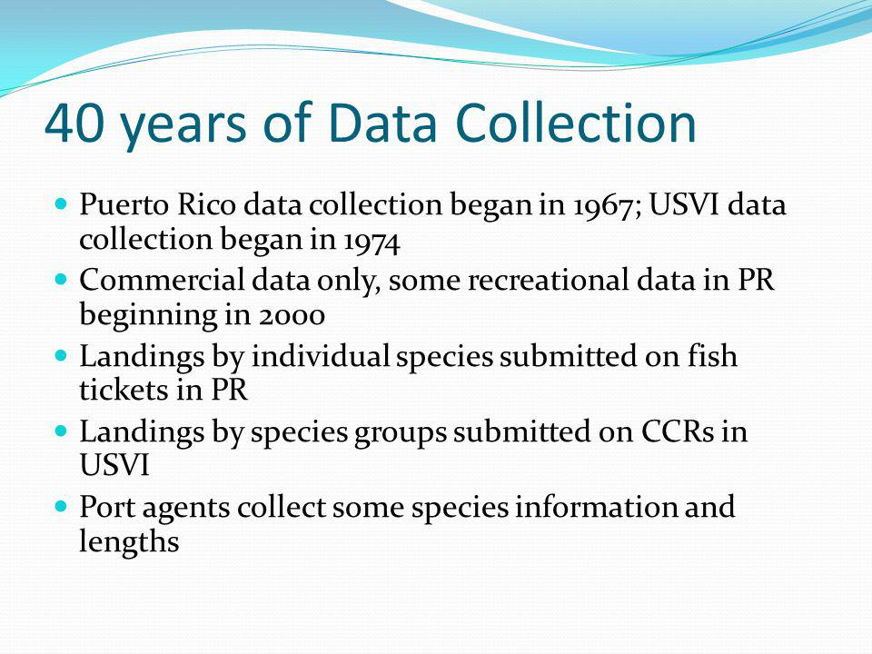 Frustration Fishermen and port samplers have collected 40 years of data, but it has not been used for management Conventional stock assessments attempted 9 times since 2003, but were unsuccessful Existing data MIGHT be useful for assessing or setting catch limits for only a few stocks Fishermen and managers alike want to find ways to use the data already collected AND collect new types of data