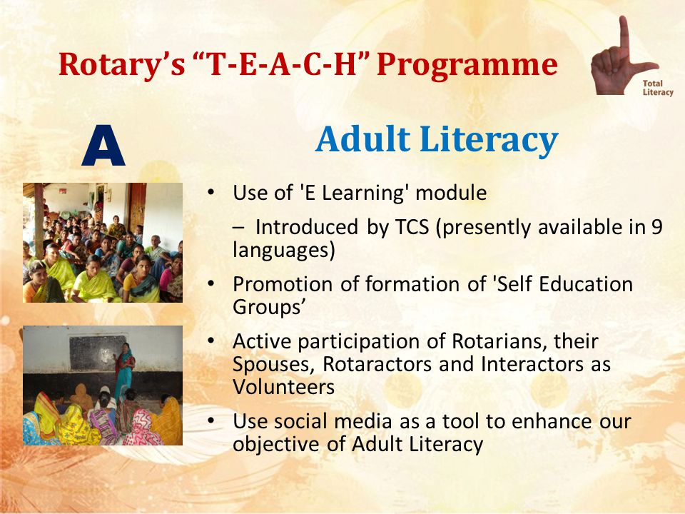Rotarys T-E-A-C-H Programme Adult Literacy Specialized training to housewives and girls living in slums and bastis Promotion of Literacy amongst mothers Functional Literacy through – Vocational training – Basic education in maths, business fundamentals, computer skills etc – Promote Learning for Earning A