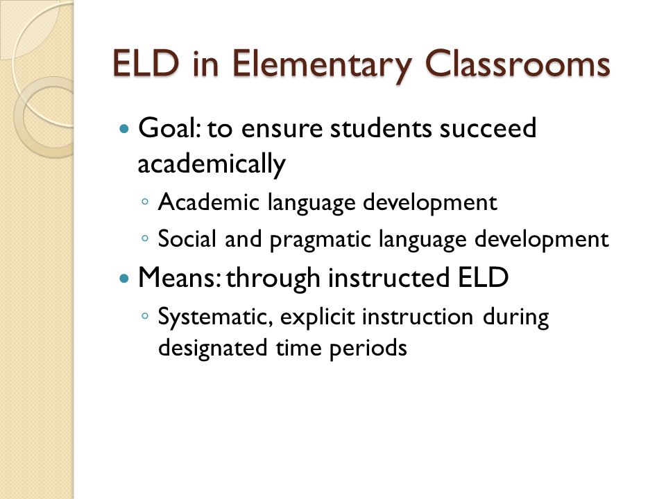 Designing ELD instruction Questions: What aspects of language do I teach.