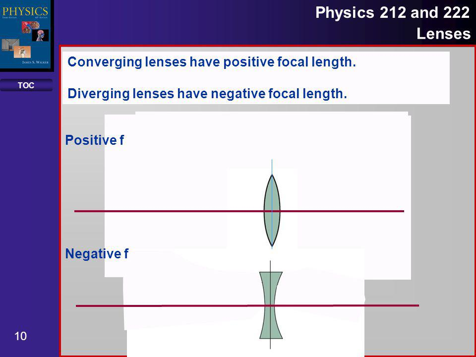 TOC 11 Physics 212 and 222 Lenses The same equation may be used to find the image distance, object distance or focal length for all thin lenses.