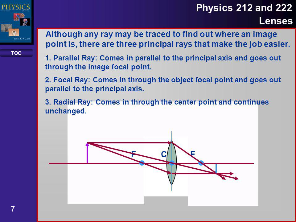 TOC 8 Physics 212 and 222 Lenses CF F Although any ray may be traced to find out where an image points is, there are three principal rays that make the job easier.