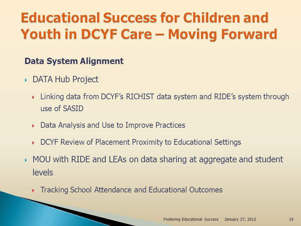 Educational Records Clear procedures on transfer of student records RIDEs E-Transcripts and Instructional Management Systems in development DCYF/School Partnerships Stability - Example – Central Falls Restorative Justice Program School Based Foster Care Liaisons January 27, 2012Fostering Educational Success20
