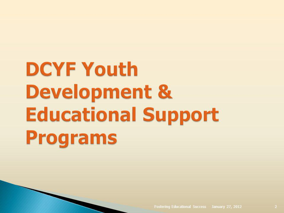 Youth Development Consolidated Youth Services Life Skills Assessments & Education ASPIRE Financial Literacy Real Connections Permanency Teen Grants National Youth In Transition Database (NYTD) YESS Aftercare Services Adolescent Support Specialists to Assist DCYF Staff Medicaid to Age 21 3