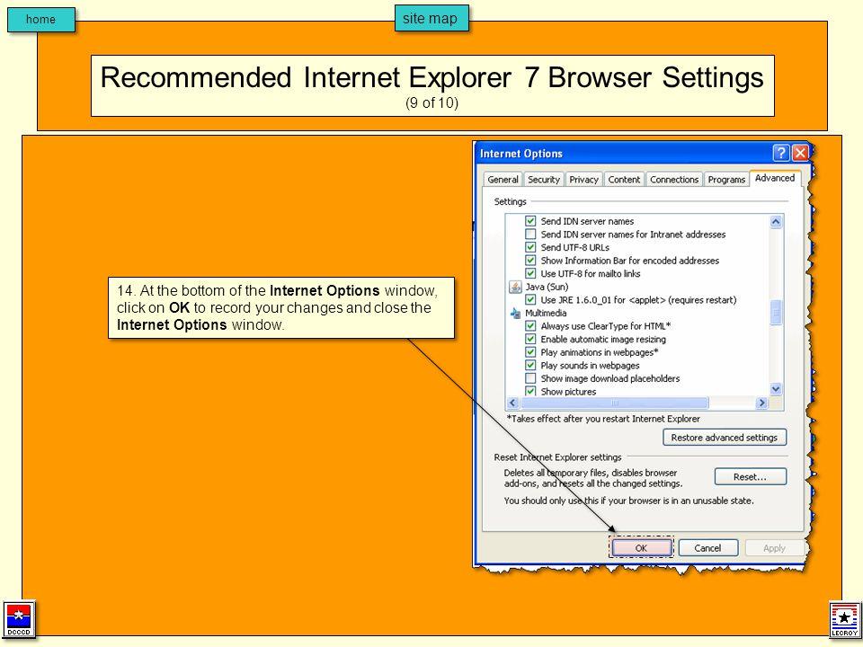 home site map 15.Close the Internet Explorer browser window.
