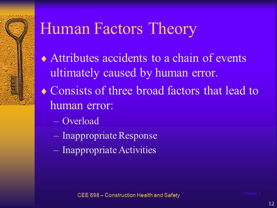 Chapter 3 13 Factors Leading to Human Error CEE 698 – Construction Health and Safety Inappropriate Activities Overload Inappropriate Response Human Error Factors