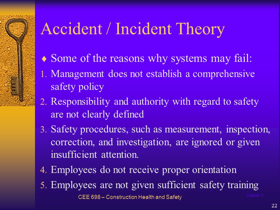 Chapter 3 23 Accident / Incident Theory - Example Panhandle Precast Concrete has developed a well-earned reputation as a safe company.
