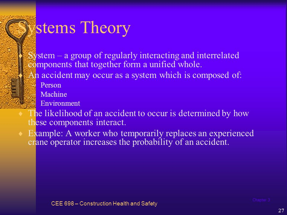 Chapter 3 28 Systems Theory The primary components of the systems model are the person, machine, environment, and information; decisions; risks; and the task to be performed.