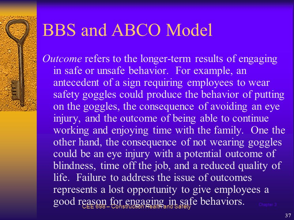 Chapter 3 38 Behavioral Theory - Example Jack Coker decided to apply the ABC model in turning the unsafe behavior pattern of the workers (not wearing hard hats) in Bonded Builders, Inc.