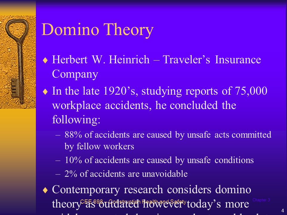 Chapter 3 5 Axioms of Workplace Safety CEE 698 – Construction Health and Safety Conclusions laid foundation for Axioms of Industrial Safety (came to be known as the Domino Theory) 1.Injuries result from a completed series of factors, one of which is the accident itself.