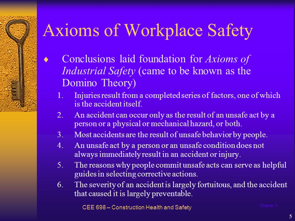 Chapter 3 6 Axioms of Workplace Safety CEE 698 – Construction Health and Safety 7.The best accident prevention techniques are analogous with the best quality and productivity standards.