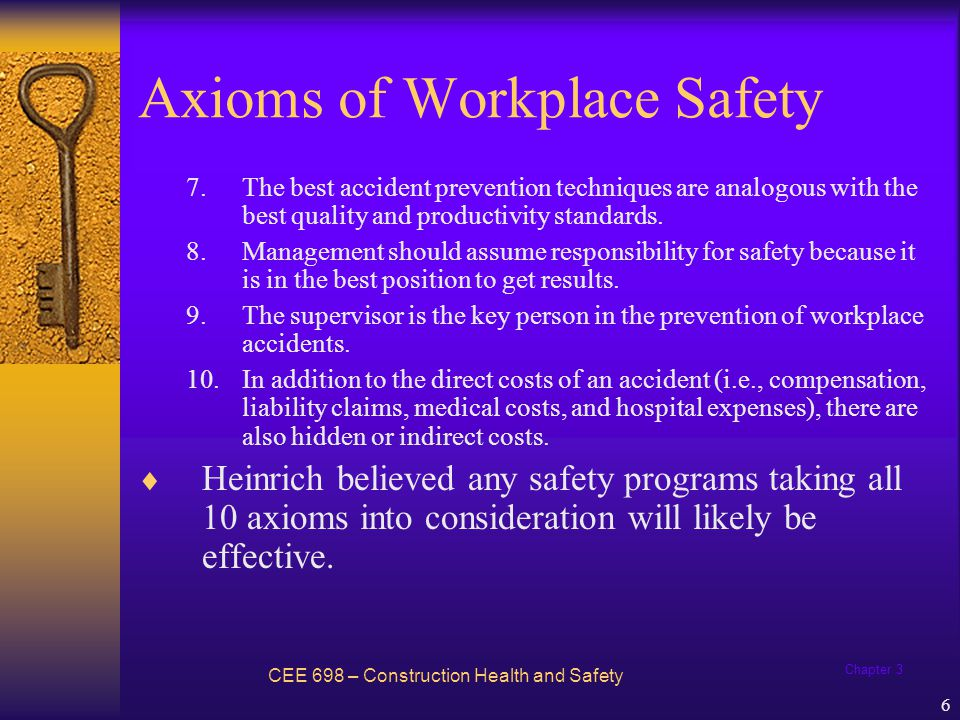 Chapter 3 7 Domino Theory CEE 698 – Construction Health and Safety Five factors in sequence leading to an accident: 1.Ancestry and social environment.