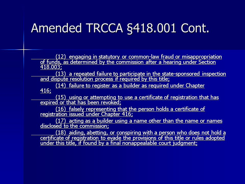 Amended TRCCA §418.001 Cont.