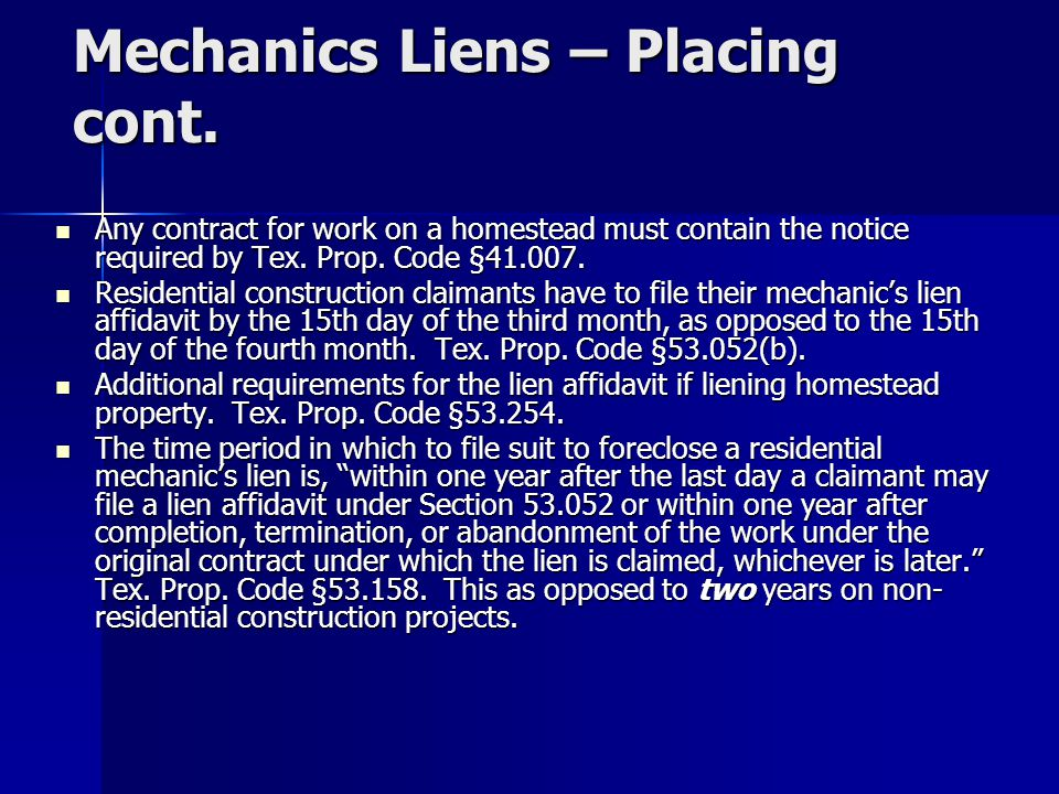 V.Mechanics Liens – Removing No difference in procedure from commercial context.