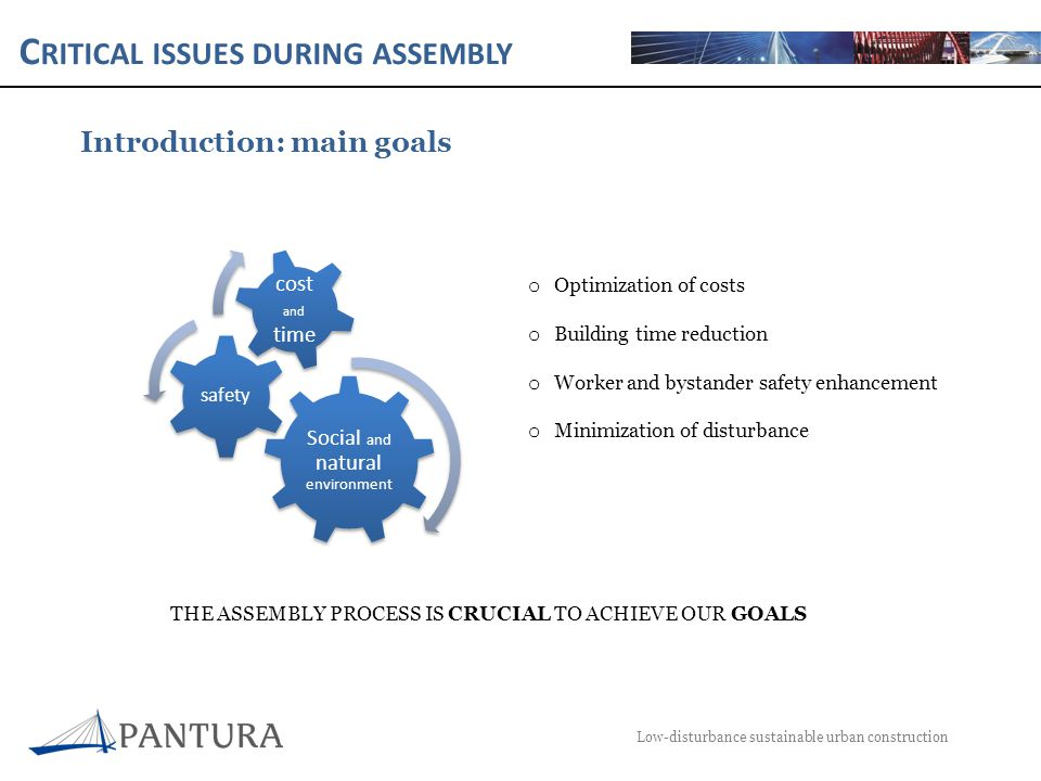 C RITICAL ISSUES DURING ASSEMBLY Low-disturbance sustainable urban construction Introduction: critical issues in the assembly process Pre- assembly Assembly Post- assembly