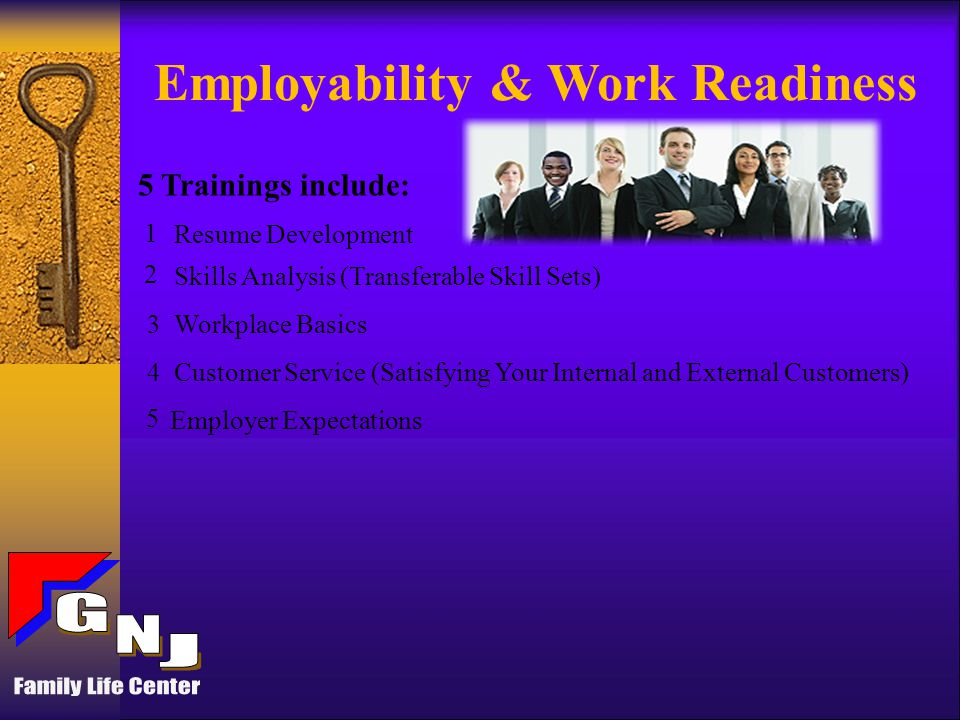 Internships and Training Placements May Include: Social Service Agencies (including Health and Human Services) Construction Sites and Property Management Sites Warehouse & Manufacturing Hospitality /Casino Sites Offices (That Provide Customer Service Opportunities) 1 2 3 4 5