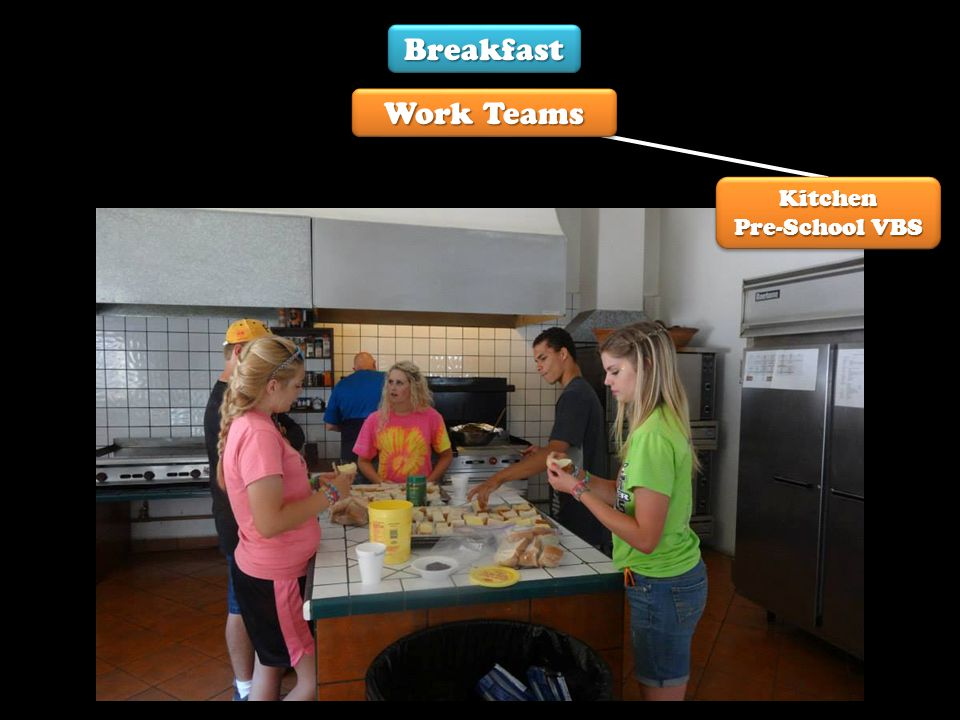 Breakfast Work Teams Kitchen Pre-School VBS